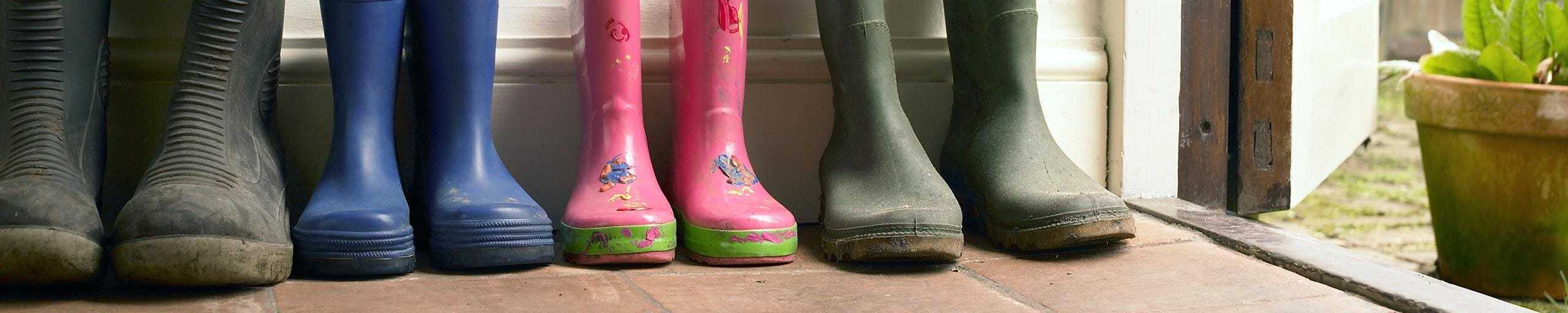 Rubber boots in various colors.